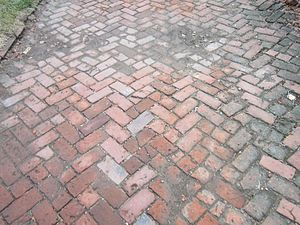Brewery District, Columbus - old brick sidewalk in brewery district