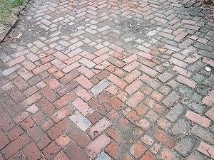 Brewery District, Columbus - old brick sidewalk in brewery district