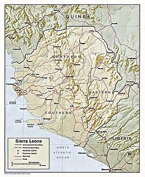 Outline of Sierra Leone - An enlargeable relief map of Sierra Leone