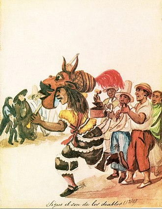 Afro-Peruvian - Son de los Diablos, an Afro-Peruvian dance which is based in the Diablada and African rhythms. Painting by Pancho Fierro.