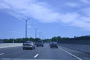 Igor I. Sikorsky Memorial Bridge - Traveling eastbound (toward Milford) on the Igor I. Sikorsky Memorial Bridge in June 2007.