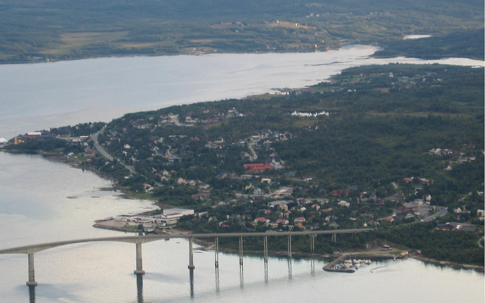 View of Silsand with the bridge to Finnsnes