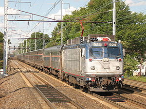 Silver Meteor train #98, under electric power,...