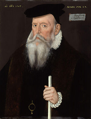 Comptroller of the Household - Sir Edward Rogers, 'Controller to Queen Elizabeth' in the 1560s, holding his white staff of office