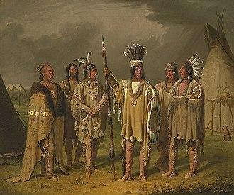 Buffalo robe - Image: Six Blackfeet Chiefs Paul Kane