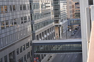 Downtown Des Moines - An example of a Des Moines skywalk connecting buildings. These unique connections are seen throughout Des Moines.