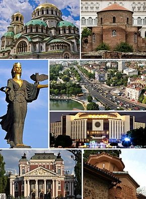 Clockwise, from top left: Alexander Nevsky Cathedral • Ivan Vazov National Theatre • Amphitheatre of Serdica • National Palace of Culture • Boyana Church • Orlov Most Square • Saint Sophia Statue • Church of St. George