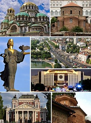 Clockwise, from top left: Alexander Nevsky Cathedral • Church of St. George • Eagles' Bridge, Sofia • National Palace of Culture • Boyana Church • Ivan Vazov National Theatre • Statue of Sveta Sofia