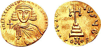 Siege of Constantinople (717–718) - Gold solidus of Anastasios II (r. 713–715), who prepared Constantinople for the coming Arab assault