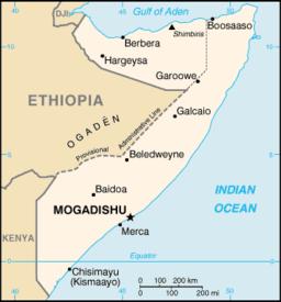 Kort over Somalia med Mogadishu har markeret.