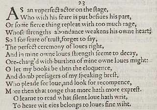 Sonnet 23 poem by William Shakespeare