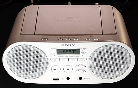 Modern boombox with MP3 file support via USB drive or CD Sony ZS-PS50 CD player and FM radio.jpg