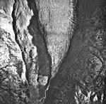 South Doroshin Glacier, terminus of mountain glacier and braided stream, August 22, 1968 (GLACIERS 6476).jpg