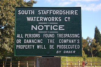 South Staffordshire Water - Cast iron sign at the company's Foley Road West site