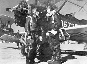 United States Army Air Forces Contract Flying School Airfields - A flying cadet and his instructor stand next to a PT-17 Stearman at Souther Field,  Americus, Georgia.