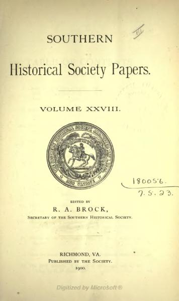 File:Southern Historical Society Papers volume 28.djvu