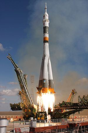 The Soyuz TMA-13 spacecraft, carrying Expedition 18 Commander Michael Fincke, Flight Engineer Yury V. Lonchakov and American spaceflight participant Richard Garriott, launched Sunday, October 12, 2008, from the Baikonur Cosmodrome in Kazakhstan. The three crew members are scheduled to dock with the International Space Station on Oct. 14. Fincke and Lonchakov will spend six months on the station, while Garriott will return to Earth October 24, 2008, with two of the Expedition 17 crew currently aboard the International Space Station.