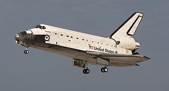 North American Aviation - The North American Rockwell Space Shuttle orbiter Atlantis landing at Kennedy Space Center