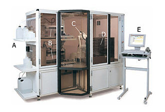 Two-dimensional gel electrophoresis - Robots are used for the isolation of protein spots from 2D gels in modern laboratories.