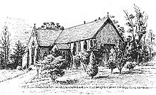 A sketch of St John's church in the 1880s – note the addition of the crossing and chancel.