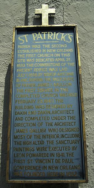 St. Patrick's Church (New Orleans, Louisiana) - Descriptive marker on the front of the church