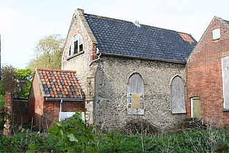 Pulham St Mary - The Guild Chapel, prior to its recent restoration; the interior is now a conference room.