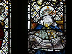 Bosom of Abraham Trinity - The Bosom of Abraham, stained glass of the early 16th century, St Neot, Cornwall.