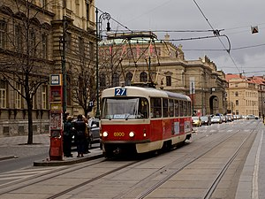 The Tatra T3 vehicle is the most widely produced tram in history. Staromestska, Tatra T3 dc.jpg