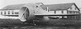 Stipa-Caproni - A front quarter view of the Stipa-Caproni with wheel spats removed.