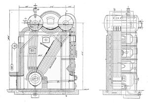 Stirling boiler - Small three-drum form, furnace to the right