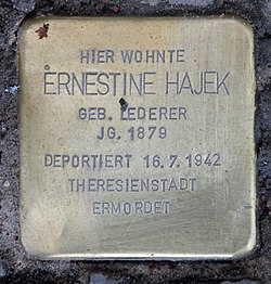 Photo of Ernestine Hajek brass plaque