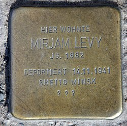 Photo of Mirjam Levy brass plaque
