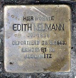 Photo of Edith Neumann brass plaque