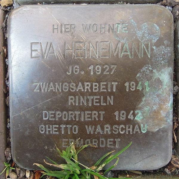 File:Stolperstein Rinteln Bäckerstraße 53 Eva Heinemann.jpg