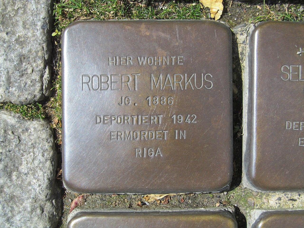 der Stolperstein für Robert Markus