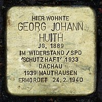 Stolperstein für Georg Johann Huith (1889) in Memmingen.jpg