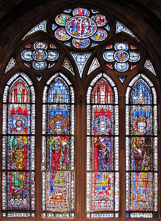 Frederick II, Holy Roman Emperor - Stained glass windows from the Strasbourg Cathedral, Alsace, Bas-Rhin, France, dated circa 1210–1270, depicting emperors of the Holy Roman Empire: Philip of Swabia, Henry IV, Henry V, and Frederick II
