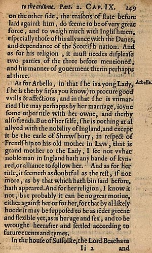 Robert Persons - Page from Robert Persons's anonymous work of 1594 on the future succession to Elizabeth I, discussing Lady Arbella Stuart