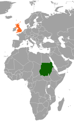 Map indicating locations of Sudan and United Kingdom