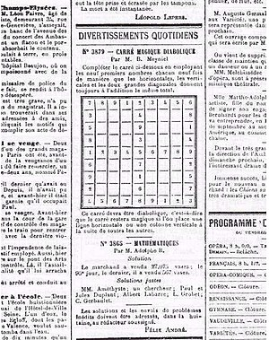 "Sudoku - From La France newspaper, July 6, 1895: The puzzle instructions read, ""Use the numbers 1 to 9 each nine times to complete the grid in such a way that the horizontal, vertical, and two main diagonal lines all add up to the same total."""