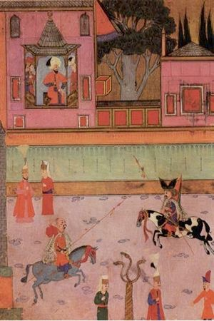 Murad III - Miniature painting of a parade of two riding Gazi (veterans from Rumelia) in front of Sultan Murat III (from the Surname-i hümayun, 16th century)