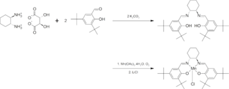 3,5-Di-tert-butylsalicylaldehyde - Image: Synthesis of (R,R) Jacobsen's catalyst