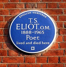 Photograph of a blue plaque erected by English Heritage