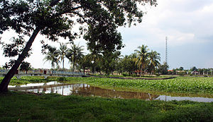 Sriwijaya Kingdom Archaeological Park - Cempaka island, an artificial island in the middle of a pond.
