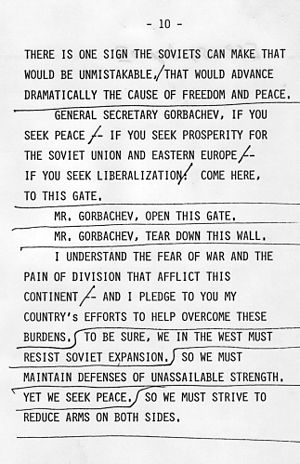 "Speeches and debates of Ronald Reagan - Page 10 of the ""Tear Down this Wall"" speech"