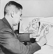 Dr. Seuss working on How the Grinch Stole Christmas