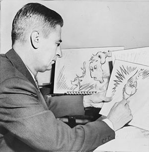 Dr. Seuss - Geisel at work on a drawing of the Grinch for How the Grinch Stole Christmas! in 1957