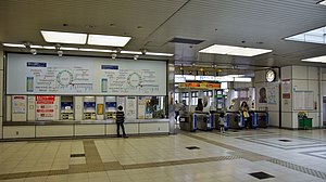 Tennōzu Isle Station - Image: Tennozu Isle Station ticket barriers 20150419