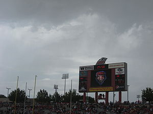 2011 Texas Tech Red Raiders football team - Clouds and scoreboard during first lightning delay