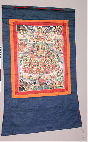 Gelug - Gelug Lineage Refuge Tree thangka depicting Je Tsongkapa at the pinnacle of the tree